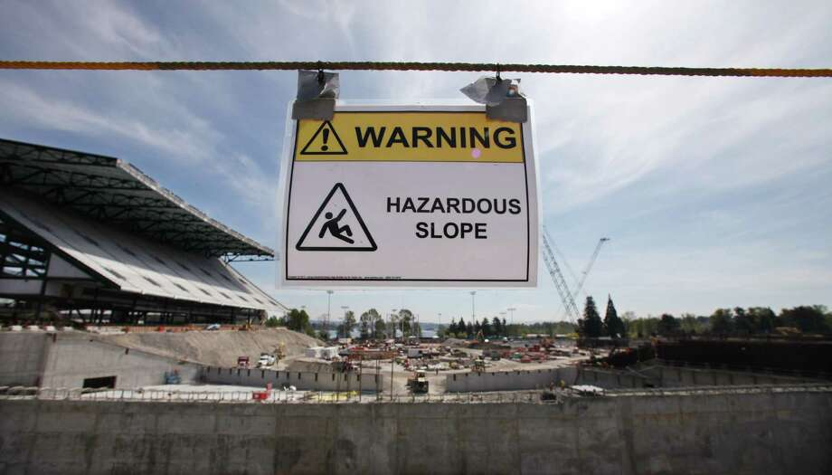 Progress on renovation of the Husky Stadium is seen during a tour for media members Monday, April 23, 2012, in Seattle. Photo: AP