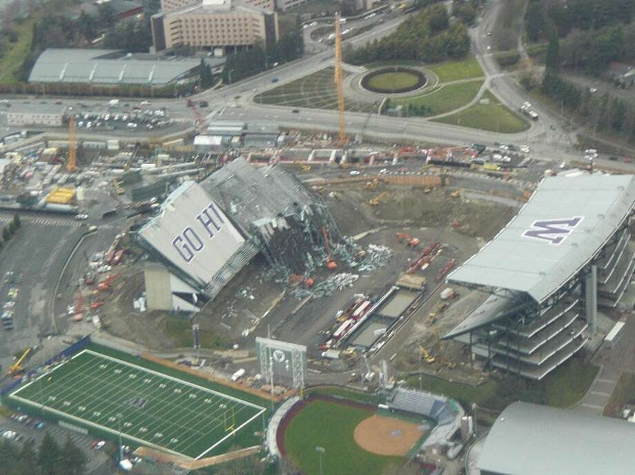 The Husky Stadium renovation site is seen from the air on Jan. 4, 2012.