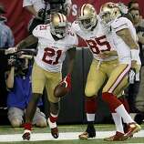 Frank Gore (left), Vernon Davis, and Colin Kaepernick celebrated Gore's game winning touchdown in the fourth quarter. The San Francisco 49ers beat the Atlanta Falcons 28-24 to win the NFC title and advance to the Super Bowl Sunday January 20, 2013.