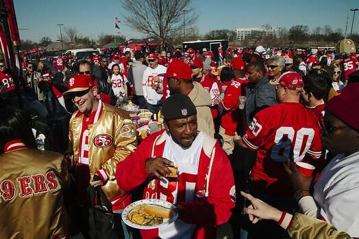 San Francisco 49ers fans congregated at the Georgia 49ers Fan Club tailgate in the Yellow Lot of the Georgia Dome in Atlanta Georgia for the NFC Championship on January 20, 2013. Photo: David Walter Banks