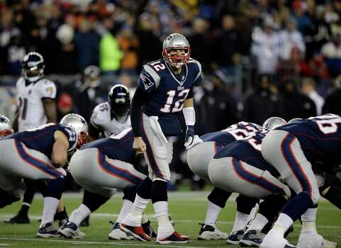 New England Patriots quarterback Tom Brady (12) shouts signals during the first half of the NFL football AFC Championship football game against the Baltimore Ravens in Foxborough, Mass., Sunday, Jan. 20, 2013. (AP Photo/Matt Slocum) Photo: Matt Slocum, Associated Press / AP