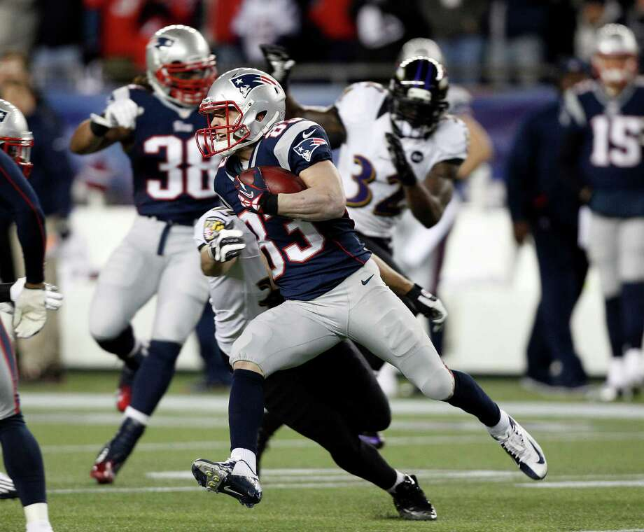 New England Patriots wide receiver Wes Welker (83) returns a punt against the Baltimore Ravens during the first half of the NFL football AFC Championship football game in Foxborough, Mass., Sunday, Jan. 20, 2013. (AP Photo/Stephan Savoia) Photo: Stephan Savoia, Associated Press / AP