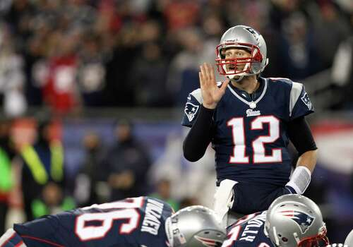 New England Patriots quarterback Tom Brady (12) calls signals at the line during the first half of the NFL football AFC Championship football game against the Baltimore Ravens in Foxborough, Mass., Sunday, Jan. 20, 2013. (AP Photo/Stephan Savoia) Photo: Stephan Savoia, Associated Press / AP