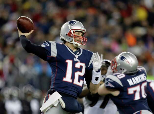 New England Patriots quarterback Tom Brady (12) passes against the Baltimore Ravens during the first half of the NFL football AFC Championship football game in Foxborough, Mass., Sunday, Jan. 20, 2013. (AP Photo/Steven Senne) Photo: Steven Senne, Associated Press / AP