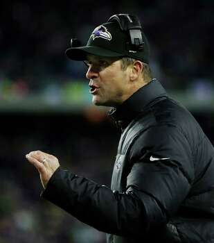 Baltimore Ravens head coach John Harbaugh argues a call during the first half of the NFL football AFC Championship football game against the New England Patriots in Foxborough, Mass., Sunday, Jan. 20, 2013. (AP Photo/Matt Slocum) Photo: Matt Slocum, Associated Press / AP