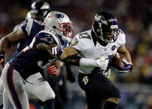 New England Patriots free safety Devin McCourty (32) pursues Baltimore Ravens running back Ray Rice (27) during the first half of the NFL football AFC Championship football game in Foxborough, Mass., Sunday, Jan. 20, 2013. (AP Photo/Matt Slocum) Photo: Matt Slocum, Associated Press / AP