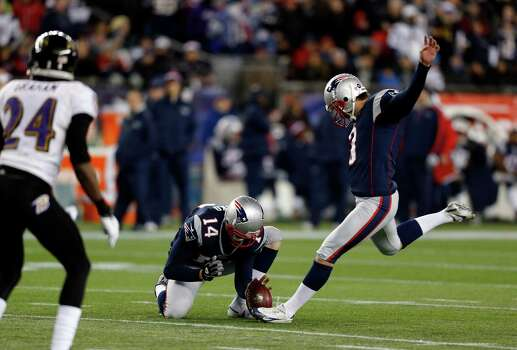 New England Patriots kicker Stephen Gostkowski (3) kicks a 31-yard field goal as Zoltan Mesko holds during the first half of the NFL football AFC Championship football game against the Baltimore Ravens in Foxborough, Mass., Sunday, Jan. 20, 2013. (AP Photo/Charles Krupa) Photo: Charles Krupa, Associated Press / AP