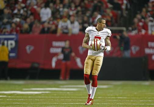 49ers quarterback Colin Kaepernick, (7) comes back into the game after a time out, as the San Francisco 49ers beat the Atlanta Falcons 28-24 to win the NFC Championship game on Sunday Jan. 20,  2013,  at the Georgia Dome in Atlanta Ga. Photo: Michael Macor, The Chronicle
