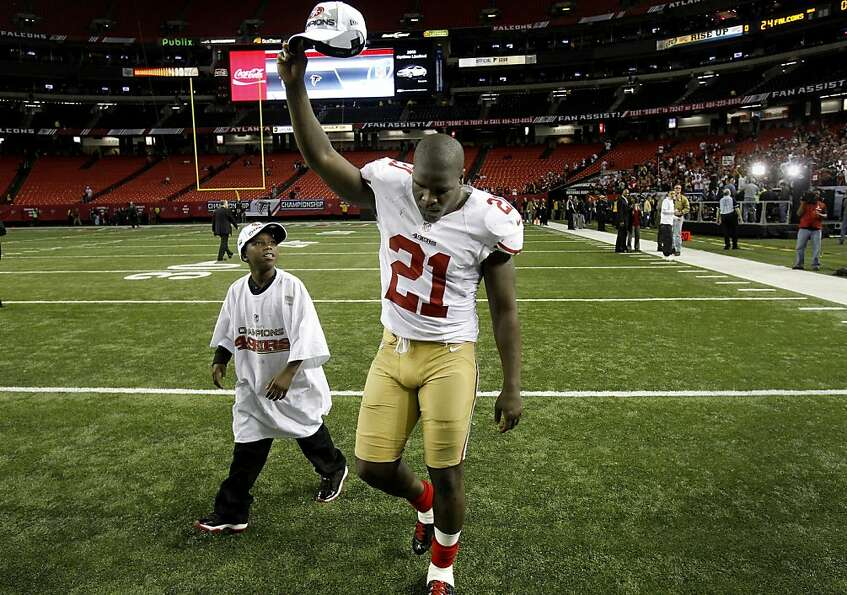 Frank Gore saluted the fans as he walked off the field with his son named Little Frank, 10 years. Th