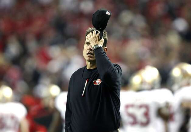 Niners head coach Jim Harbaugh had a stressful day as his team spotted the Falcons a 17-0 lead. Photo: Michael Macor, The Chronicle