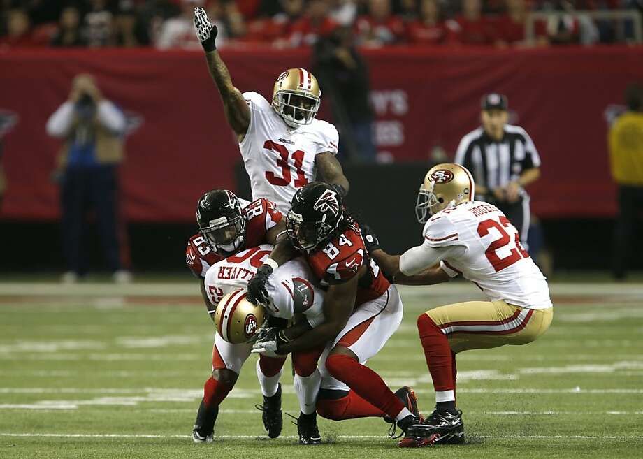 Cornerback Chris Culliver (29) catches an interception in the third quarter of the San Francisco 49ers game against the Atlanta Falcons in the NFC Championship game at the Georgia Dome in Atlanta, GA., on Sunday January 20, 2013. Photo: Carlos Avila Gonzalez, The Chronicle