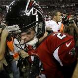 Atlanta quarterback Matt Ryan walked away after greeting Colin Kaepernick at midfield. The San Francisco 49ers beat the Atlanta Falcons 28-24 to win the NFC title and advance to the Super Bowl Sunday January 20, 2013.