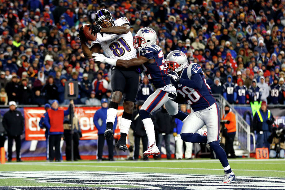 Anquan Boldin #81 of the Ravens scores a touchdown against Devin McCourty #32 of the Patriots. Photo: Jared Wickerham, Getty Images / 2013 Getty Images