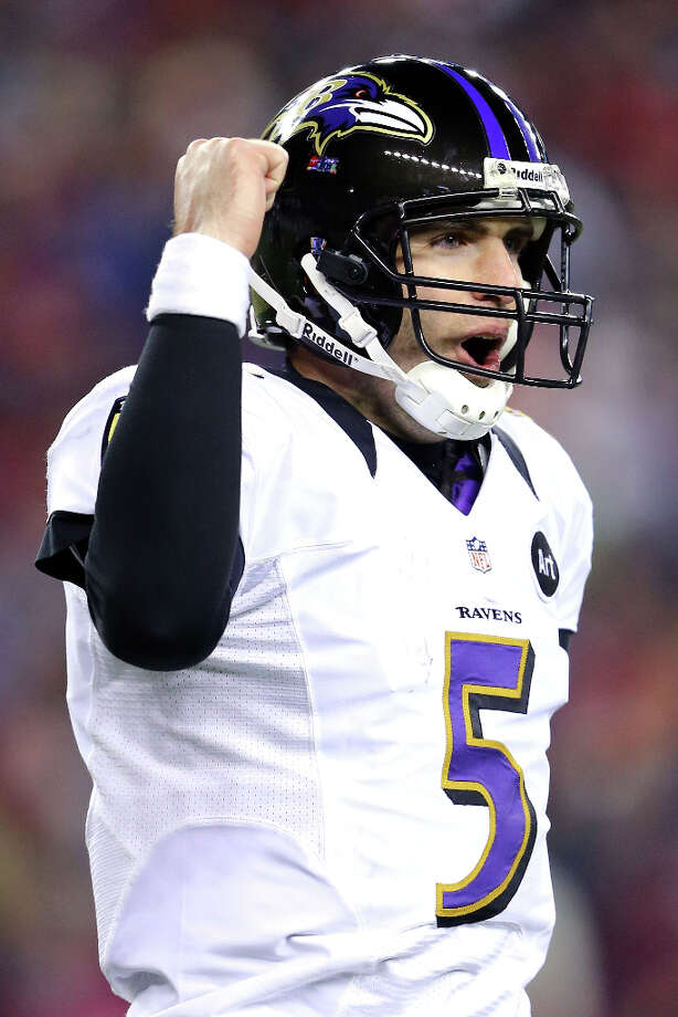 Joe Flacco #5 of the Ravens celebrates after throwing a touchdown pass to Anquan Boldin. Photo: Al Bello, Getty Images / 2013 Getty Images