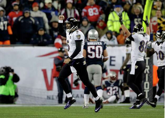 Baltimore Ravens quarterback Joe Flacco (5) celebrates his touchdown pass to Anquan Boldin during the second half of the NFL football AFC Championship football game against the New England Patriots in Foxborough, Mass., Sunday, Jan. 20, 2013. (AP Photo/Matt Slocum) Photo: Matt Slocum, Associated Press / AP