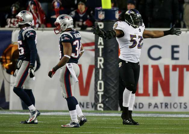 Baltimore Ravens inside linebacker Ray Lewis (52) reacts during the second half of the NFL football AFC Championship football game against the New England Patriots in Foxborough, Mass., Sunday, Jan. 20, 2013. (AP Photo/Charles Krupa) Photo: Charles Krupa, Associated Press / AP