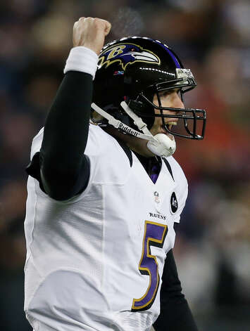 Baltimore Ravens quarterback Joe Flacco celebrates after an 11-yard touchdown pass to Anquan Boldin during the second half of the NFL football AFC Championship football game against the New England Patriots in Foxborough, Mass., Sunday, Jan. 20, 2013. (AP Photo/Charles Krupa) Photo: Charles Krupa
