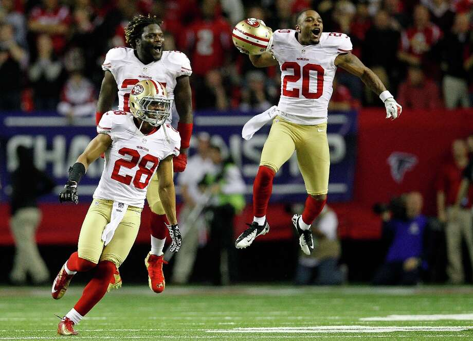 ATLANTA, GA - JANUARY 20:  Defensive back Darcel McBath #28, Anthony Dixon #24 and defensive back Perrish Cox #20 of the San Francisco 49ers react after stopping the Atlanta Falcons on fourth down in the fourth quarter in the NFC Championship game at the Georgia Dome on January 20, 2013 in Atlanta, Georgia. Photo: Chris Graythen, Getty Images / 2013 Getty Images