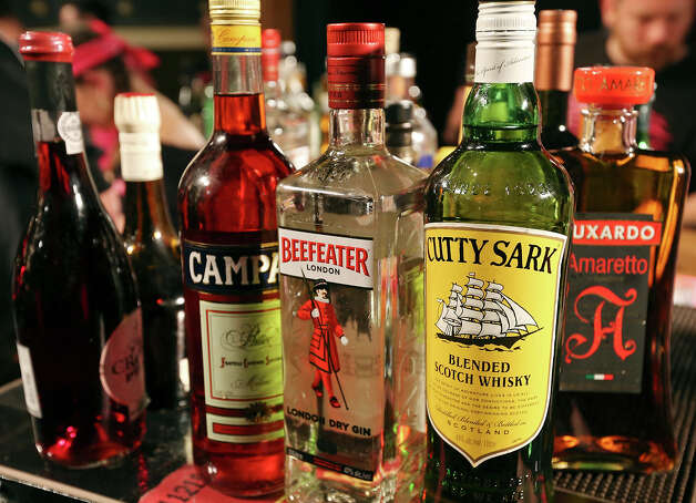 Detail of liquor used during the Speed Rack competition Sunday Jan. 20, 2013 at the St. Anthony Hotel. Photo: Edward A. Ornelas, San Antonio Express-News / © 2012 San Antonio Express-News