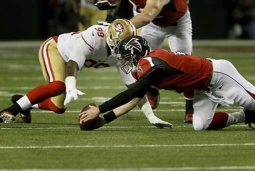Matt Ryan lost a fumble in the second half recovered by Aldon Smith. The San Francisco 49ers beat the Atlanta Falcons 28-24 to win the NFC title and advance to the Super Bowl Sunday January 20, 2013. Photo: Brant Ward, The Chronicle