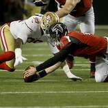 Matt Ryan lost a fumble in the second half recovered by Aldon Smith. The San Francisco 49ers beat the Atlanta Falcons 28-24 to win the NFC title and advance to the Super Bowl Sunday January 20, 2013.