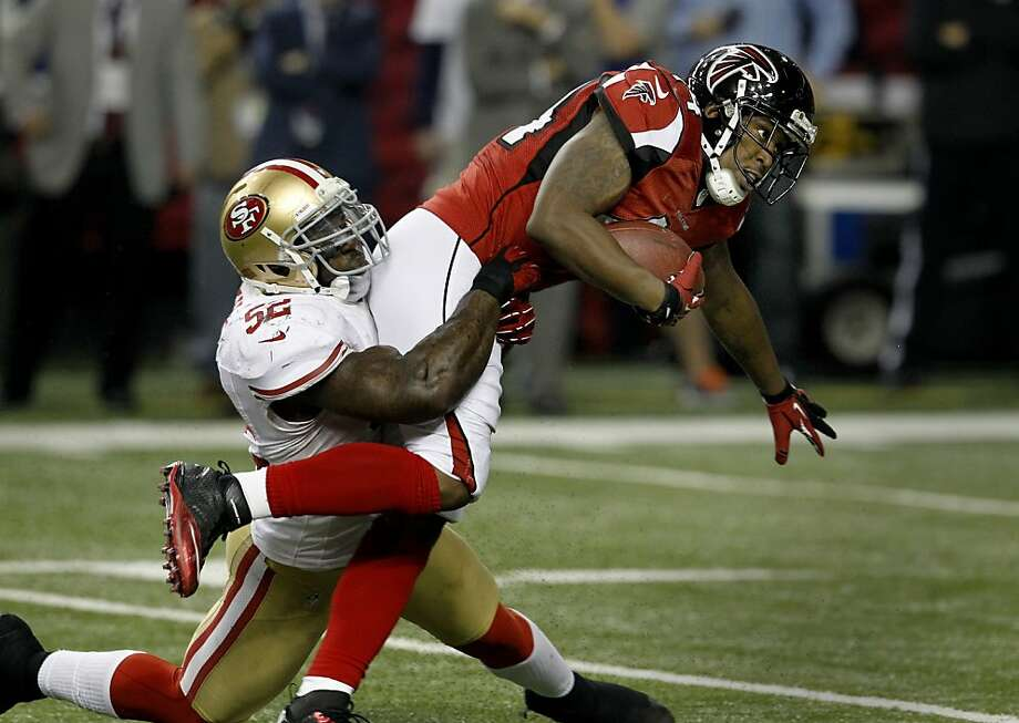 Patrick Willis stopped running back Jason Snelling for a short gain in the second half. The San Francisco 49ers beat the Atlanta Falcons 28-24 to win the NFC title and advance to the Super Bowl Sunday January 20, 2013. Photo: Brant Ward, The Chronicle