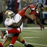 Patrick Willis stopped running back Jason Snelling for a short gain in the second half. The San Francisco 49ers beat the Atlanta Falcons 28-24 to win the NFC title and advance to the Super Bowl Sunday January 20, 2013.