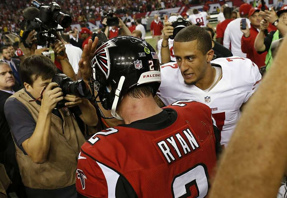 Colin Kaepernick speaks with Matt Ryan after the 49ers defeated the Falcons on Sunday. The San Francisco 49ers played the Atlanta Falcons in the NFC Championship Game in the Georgia Dome in Atlanta, Ga., on Sunday, January 20, 2013. The 49ers defeated the Falcons 28-24 and advancing to the Superbowl. Photo: Carlos Avila Gonzalez, The Chronicle
