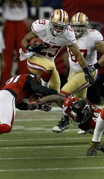 LaMichael James hurtled some defensive players during a fourth quarter run back from a punt. The San Francisco 49ers beat the Atlanta Falcons 28-24 to win the NFC title and advance to the Super Bowl Sunday January 20, 2013. Photo: Brant Ward, The Chronicle