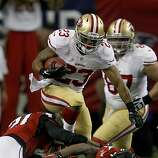 LaMichael James hurtled some defensive players during a fourth quarter run back from a punt. The San Francisco 49ers beat the Atlanta Falcons 28-24 to win the NFC title and advance to the Super Bowl Sunday January 20, 2013.