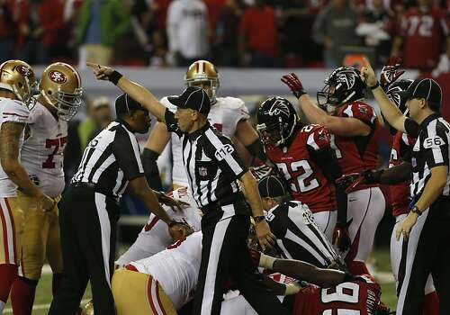 Both teams react after Wide receiver Michael Crabtree (15) fumbles the ball on the one yard line in the fourth quarter of the San Francisco 49ers game against the Atlanta Falcons in the NFC Championship game at the Georgia Dome in Atlanta, GA., on Sunday January 20, 2013. Photo: Carlos Avila Gonzalez, The Chronicle