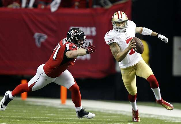 Quarterback Colin Kaepernick (7) during the first half of the San Francisco 49ers game against the Atlanta Falcons in the NFC Championship game at the Georgia Dome in Atlanta, GA., on Sunday January 20, 2013. Photo: Michael Macor, The Chronicle