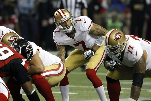 Quarterback Colin Kaepernick (7) during the second quarter of the San Francisco 49ers game against the Atlanta Falcons in the NFC Championship game at the Georgia Dome in Atlanta, GA., on Sunday January 20, 2013. Photo: Brant Ward, The Chronicle