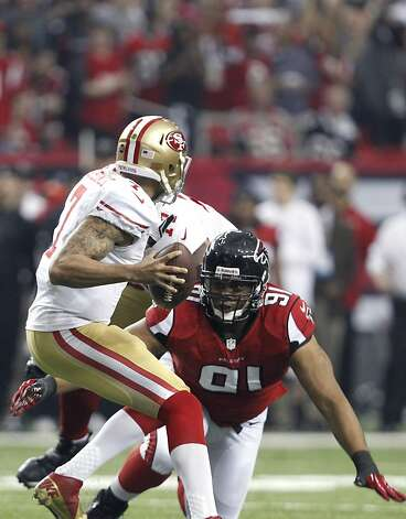 San Francisco 49ers Quarterback Colin Kaepernick (7) is sacked by Defensive tackle Ray McDonald (91) in the first quarter of the San Francisco 49ers game against the Atlanta Falcons in the NFC Championship game at the Georgia Dome in Atlanta, GA., on Sunday January 20, 2013. Photo: Michael Macor, The Chronicle