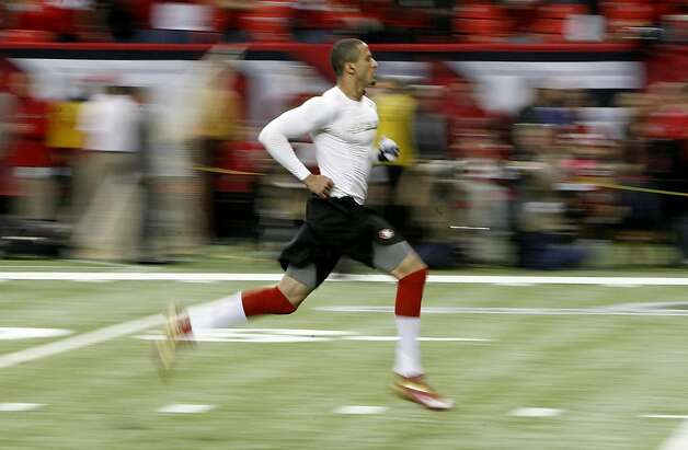 49ers quarterback Colin Kaepernick warms up before as the San Francisco 49ers take on the Atlanta Falcons in the NFC Championship game on Sunday Jan. 20,  2013,  at the Georgia Dome in Atlanta Ga. Photo: Michael Macor, The Chronicle