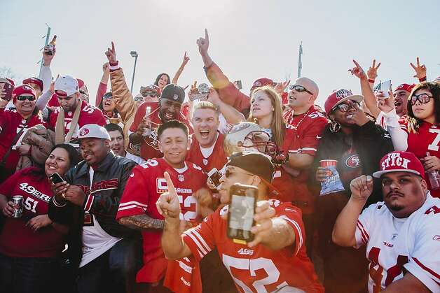 San Francisco 49ers fans congregated at the Georgia 49ers Fan Club tailgate in the Yellow Lot of the Georgia Dome in Atlanta Georgia for the NFC Championship on January 20, 2013.