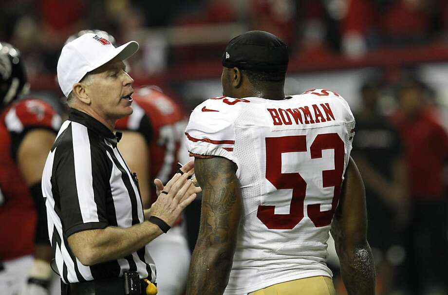Linebacker NaVorro Bowman (53) talks with a ref during the first half of the San Francisco 49ers game against the Atlanta Falcons in the NFC Championship game at the Georgia Dome in Atlanta, GA., on Sunday January 20, 2013. Photo: Brant Ward, The Chronicle