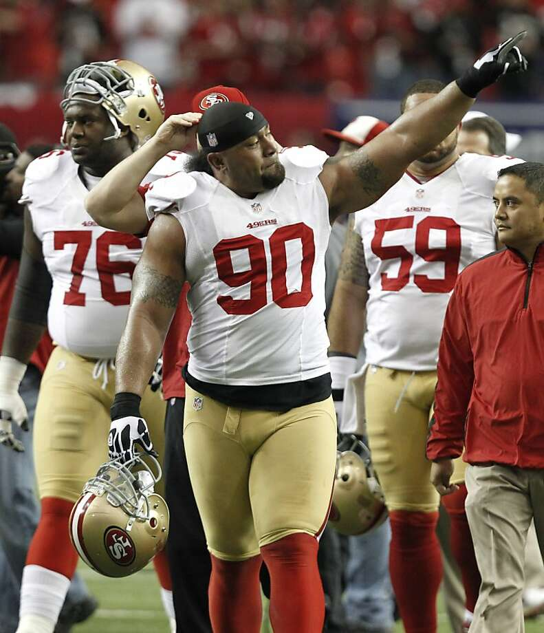 Defensive tackle Isaac Sopoaga (90) before the San Francisco 49ers game against the Atlanta Falcons in the NFC Championship game at the Georgia Dome in Atlanta, GA., on Sunday January 20, 2013. Photo: Michael Macor, The Chronicle