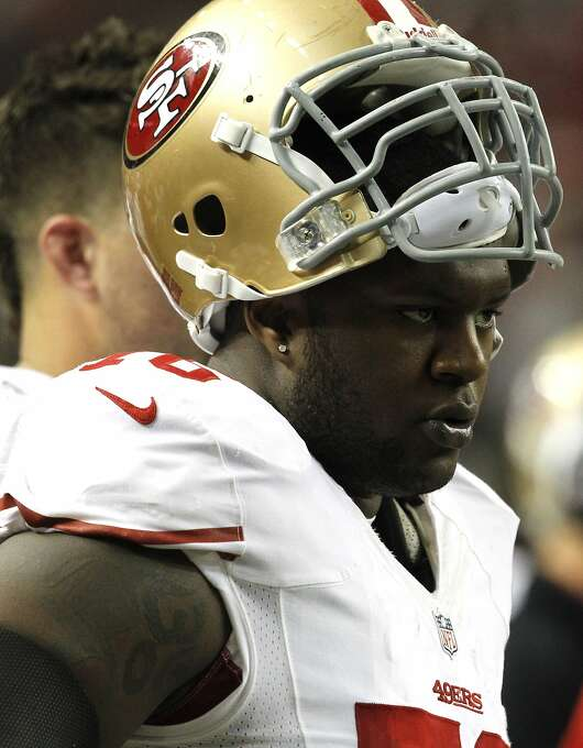 Offensive tackle Anthony Davis (76) during the first half of the San Francisco 49ers game against the Atlanta Falcons in the NFC Championship game at the Georgia Dome in Atlanta, GA., on Sunday January 20, 2013. Photo: Brant Ward, The Chronicle