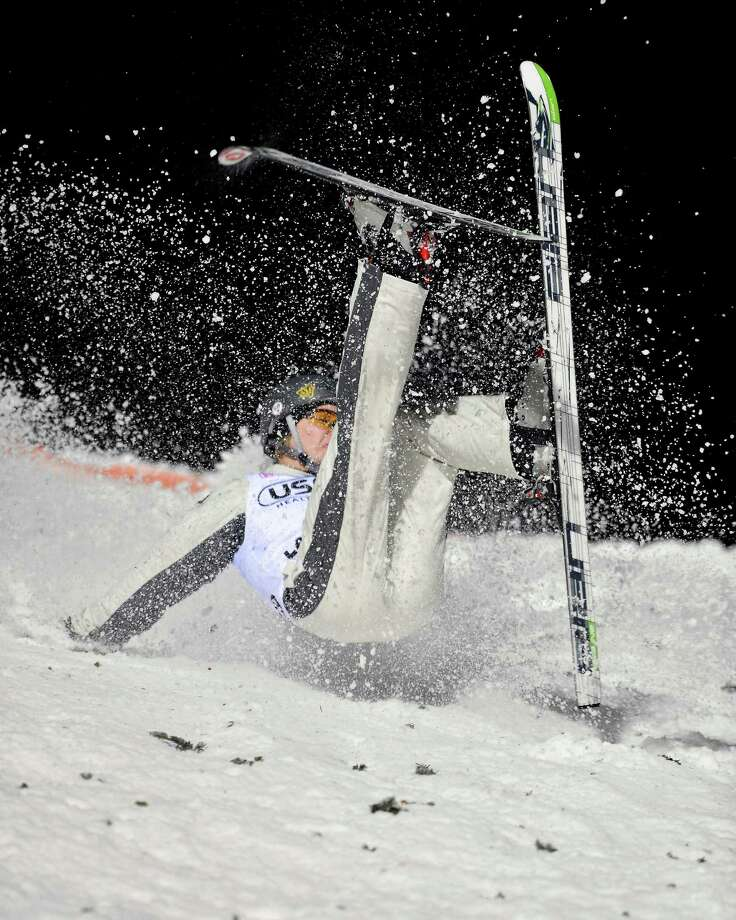 Danielle Scott, of Australia, crash lands on her second jump in the women's aerials World Cup freestyle skiing event in Lake Placid, N.Y., on Saturday, Jan. 19, 2013. Photo: John DiGiacomo, AP / FR170780 AP