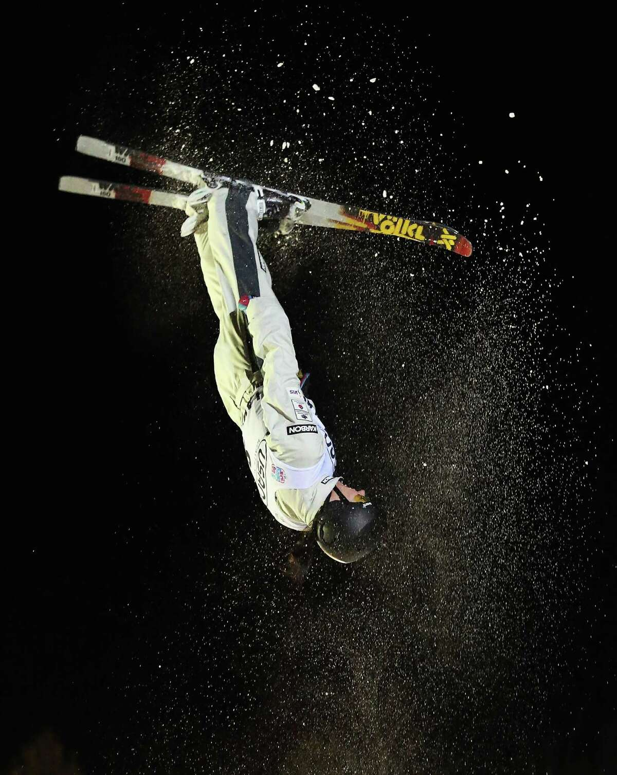 LAKE PLACID, NY - JANUARY 19: Laura Peel #8 of Australia jumps in the USANA Freestyle World Cup aerial competition at the Lake Placid Olympic Jumping Complex on January 19, 2013 in Lake Placid, New York.
