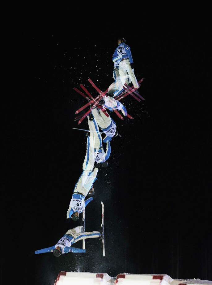 LAKE PLACID, NY - JANUARY 19: (EDITORS NOTE: Multiple exposures were combined in camera to produce this image.) Timofel Slivets #19 of Russia jumps in the USANA Freestyle World Cup aerial competition at the Lake Placid Olympic Jumping Complex on January 19, 2013 in Lake Placid, New York. Photo: Bruce Bennett, Getty Images / 2013 Getty Images