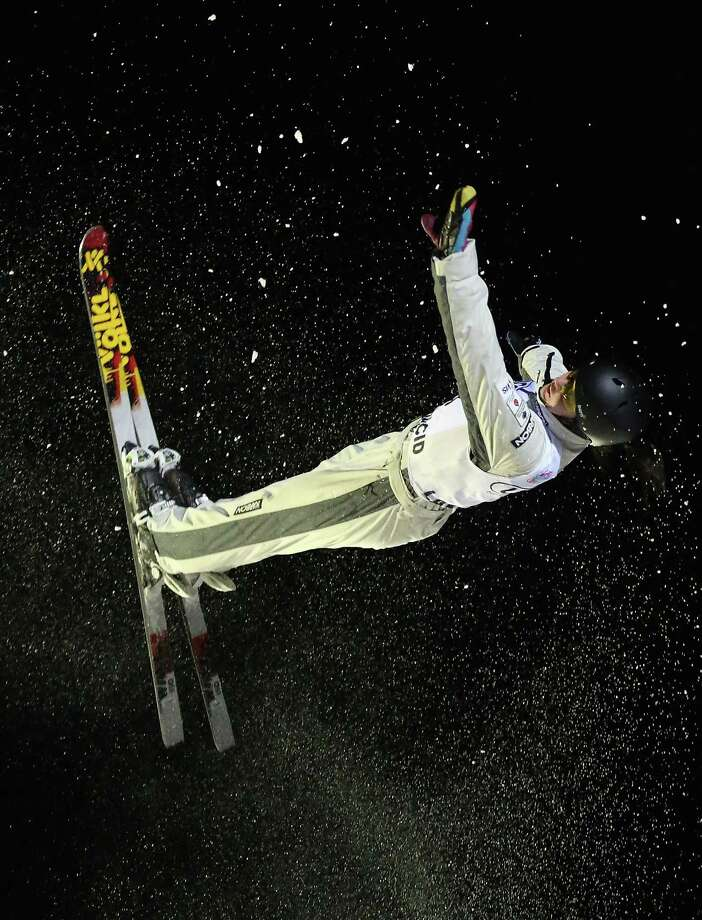 LAKE PLACID, NY - JANUARY 19: Laura Peel #8 of Australia takes her final jump in the USANA Freestyle World Cup aerial competition at the Lake Placid Olympic Jumping Complex on January 19, 2013 in Lake Placid, New York. Photo: Bruce Bennett, Getty Images / 2013 Getty Images