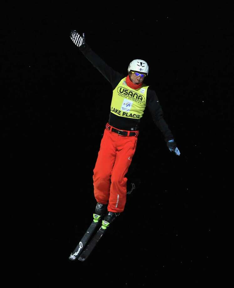 LAKE PLACID, NY - JANUARY 19:  Zongyang Jia #1 of China takes his final jump that leads to victory in the   USANA Freestyle World Cup aerial competition at the Lake Placid Olympic Jumping Complex on January 19, 2013 in Lake Placid, New York. Photo: Bruce Bennett, Getty Images / 2013 Getty Images