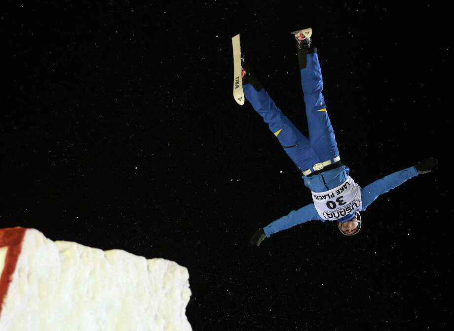 LAKE PLACID, NY - JANUARY 19: Mykola Puzderko #30 of the Ukraine jumps in the USANA Freestyle World Cup aerial competition at the Lake Placid Olympic Jumping Complex on January 19, 2013 in Lake Placid, New York. Photo: Bruce Bennett, Getty Images / 2013 Getty Images