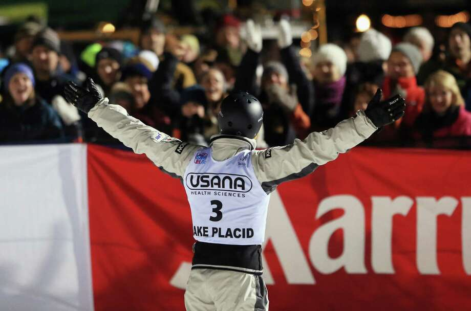 LAKE PLACID, NY - JANUARY 19: David Morris #3 of Australia thanks the crowd for their support after his last jump in the USANA Freestyle World Cup aerial competition at the Lake Placid Olympic Jumping Complex on January 19, 2013 in Lake Placid, New York. Photo: Bruce Bennett, Getty Images / 2013 Getty Images