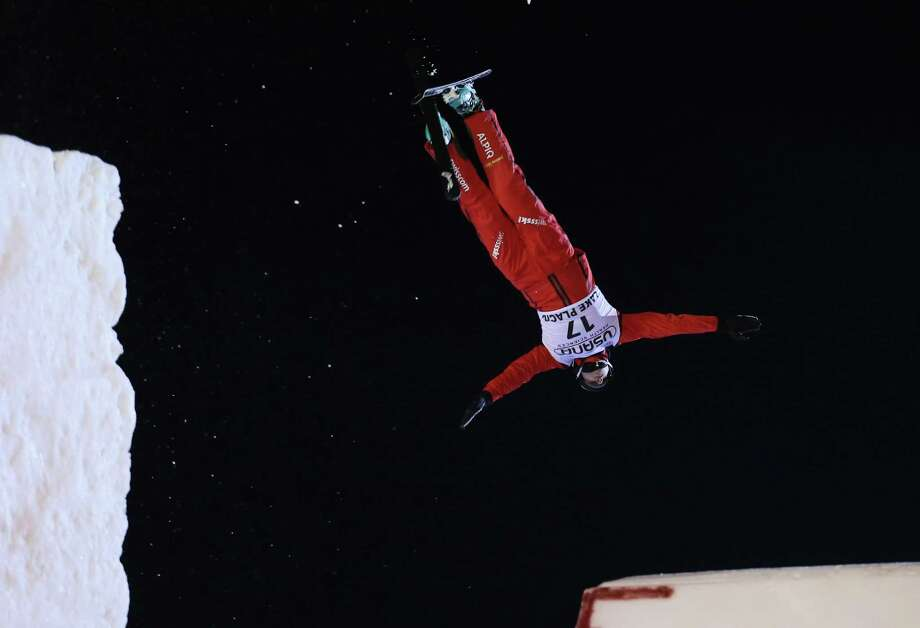 LAKE PLACID, NY - JANUARY 19:  Christopher Lambert #17 of Switzerland jumps in the qualification round at the USANA Freestyle World Cup aerial competition at the Lake Placid Olympic Jumping Complex on January 19, 2013 in Lake Placid, New York. Photo: Bruce Bennett, Getty Images / 2013 Getty Images