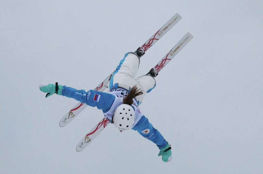 LAKE PLACID, NY - JANUARY 19: Veronika Korsunova  #16 of Russia jumps in qualification round of the USANA Freestyle World Cup aerial competition at the Lake Placid Olympic Jumping Complex on January 19, 2013 in Lake Placid, New York. Photo: Bruce Bennett, Getty Images / 2013 Getty Images