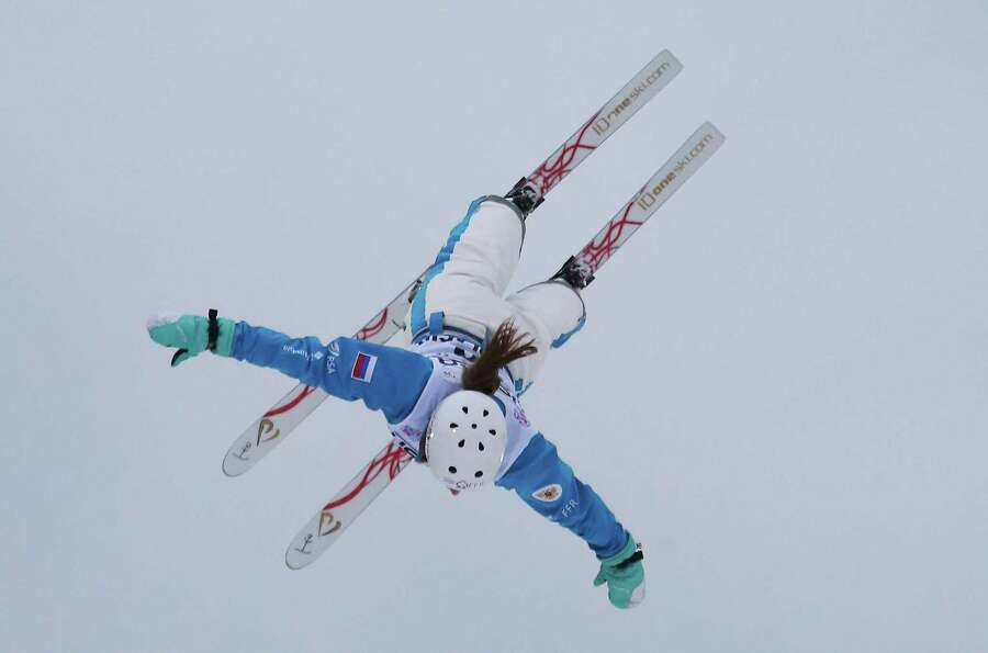 LAKE PLACID, NY - JANUARY 19: Veronika Korsunova  #16 of Russia jumps in qualification round of the