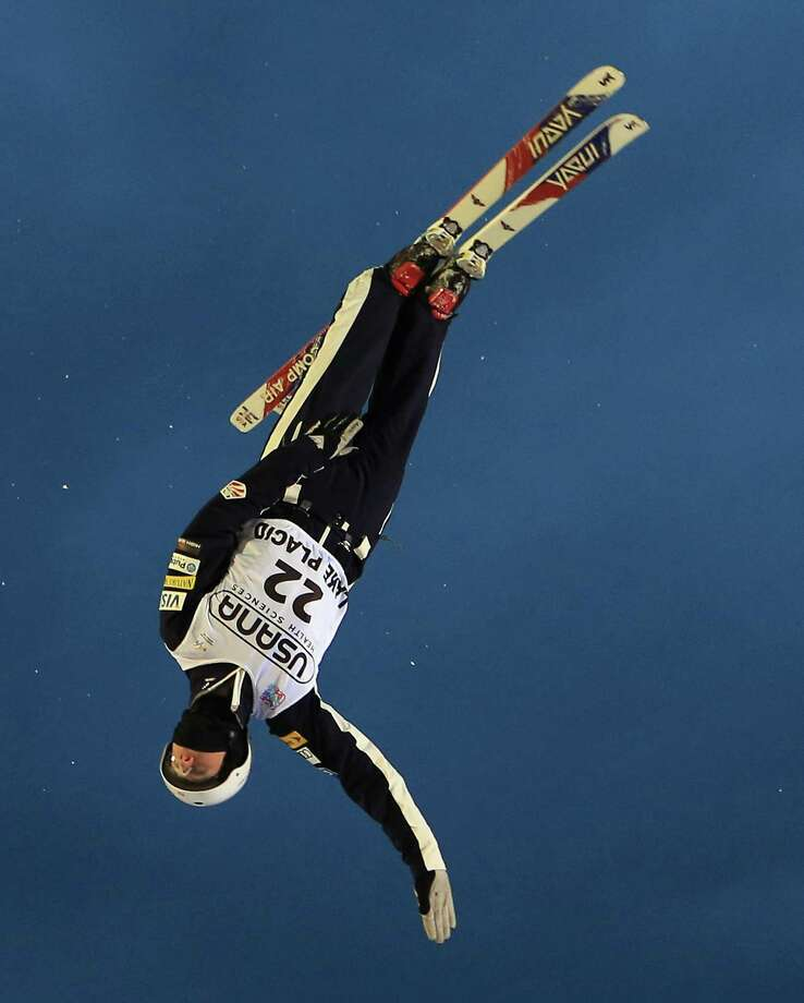 LAKE PLACID, NY - JANUARY 19: Mac Bohonnon #22 of the USA takes a practice jump before the qualification round of the USANA Freestyle World Cup aerial competition at the Lake Placid Olympic Jumping Complex on January 19, 2013 in Lake Placid, New York. Photo: Bruce Bennett, Getty Images / 2013 Getty Images